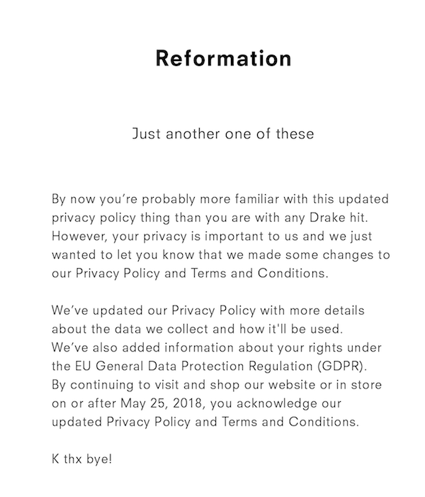 a gdpr email from reformation