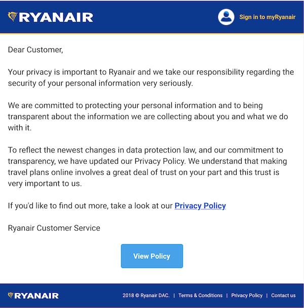 an email from ryanair