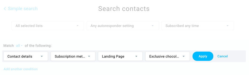 search contacts in getresponse