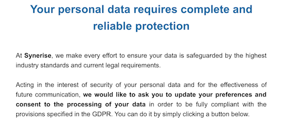 Synerise gdpr email