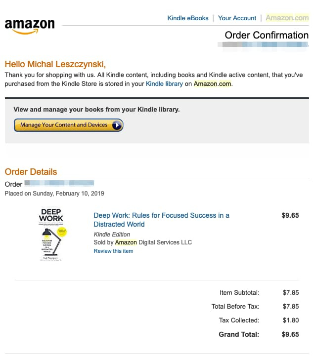 Order confirmation email from Amazon