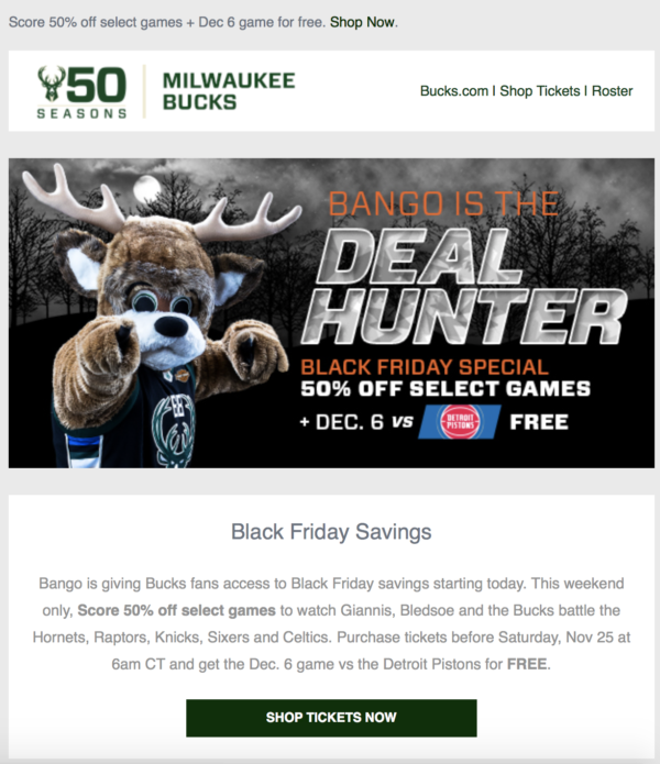 Black Friday deal from Milwaukee Bucks