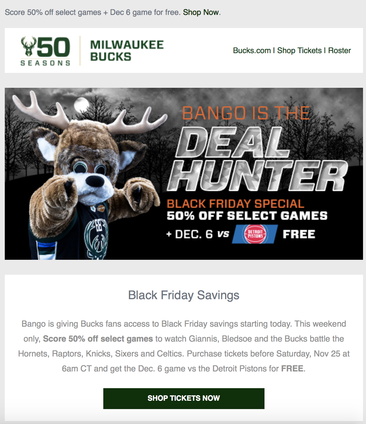 Black Friday deal from Milwaukee Bucks