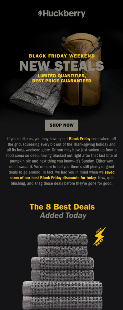 Black Friday Steals Huckberry