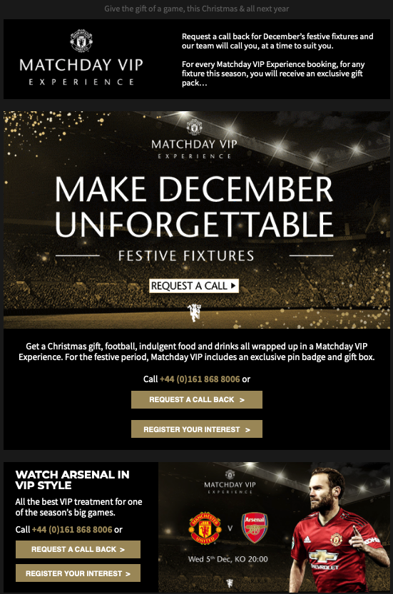 Manchester United gift email for Christmas