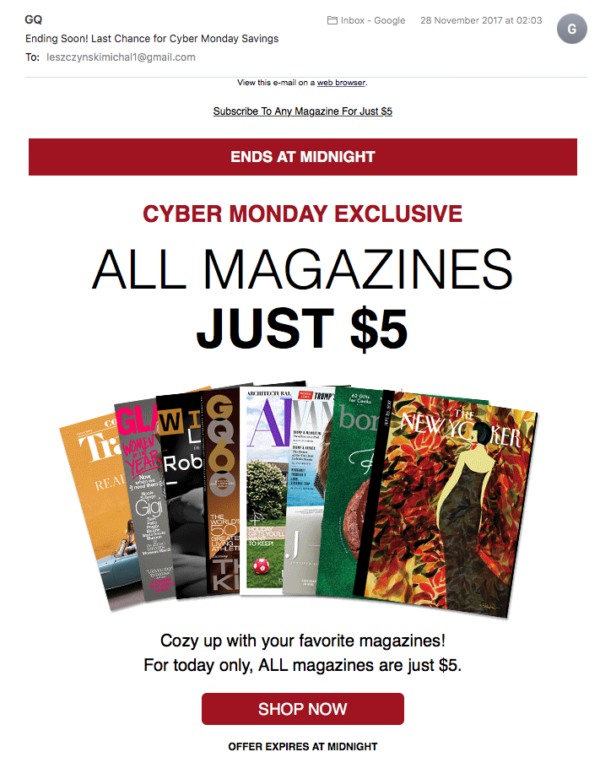 Cyber Monday Newsletter from GQ