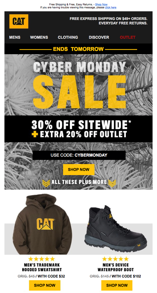 Cyber Monday Newsletter from CAT