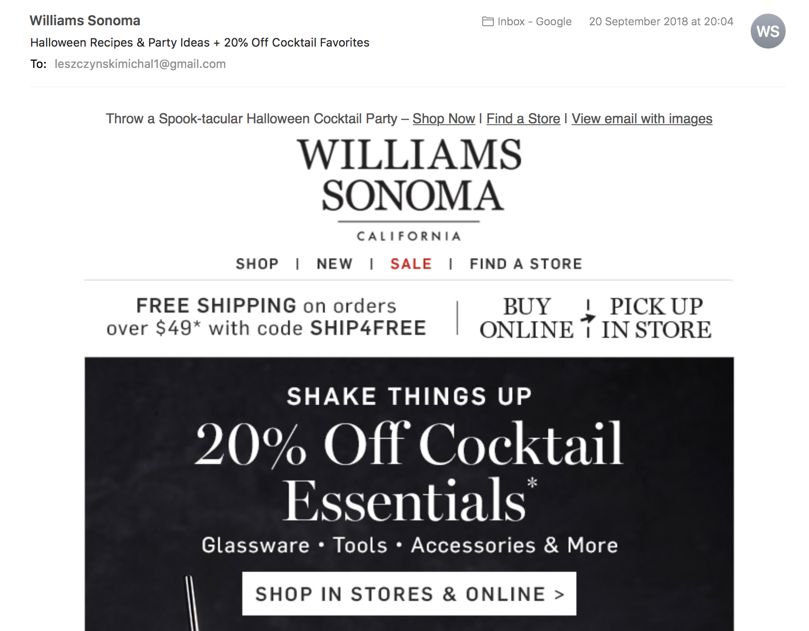 Halloween newsletter preheader in Williams Sonoma campaign