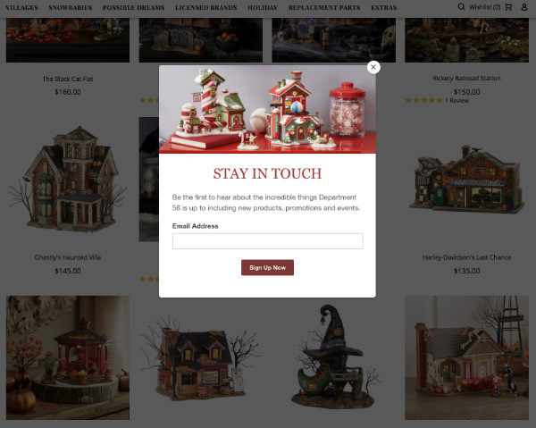 Holiday-themed email pop-up forms from Department 56