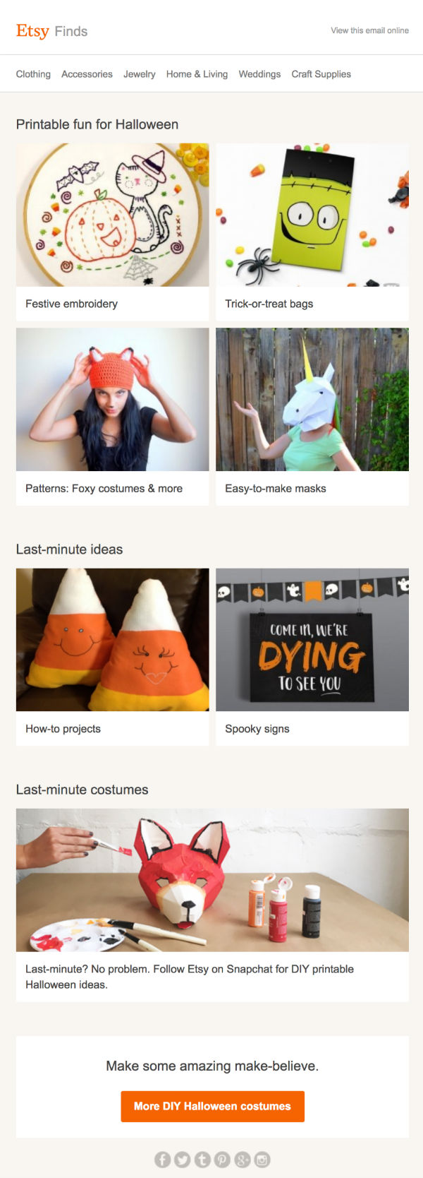 Last minute DIY Halloween Costumes Etsy Email
