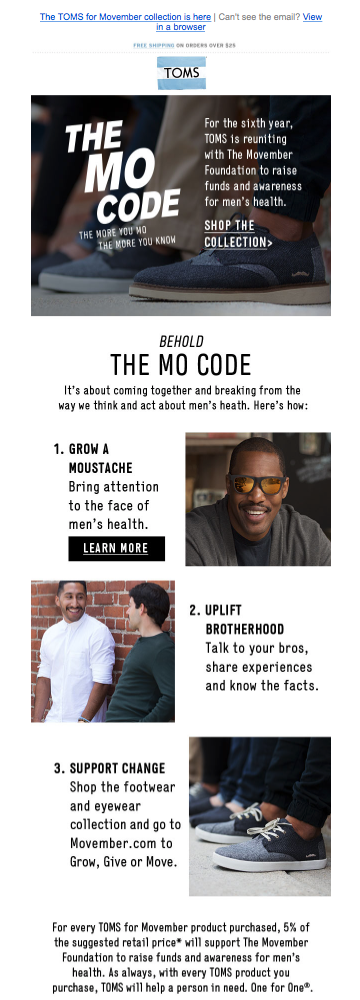 Mo Code Toms Movember Email