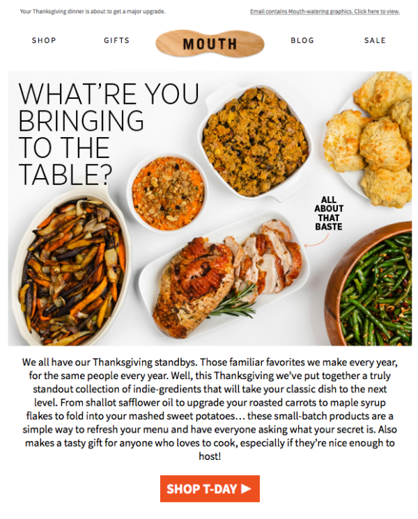 Thanksgiving newsletter from Mouth
