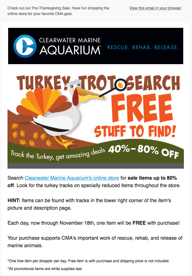 Thanksgiving deal hunt from Clearwater Marine Aquarium