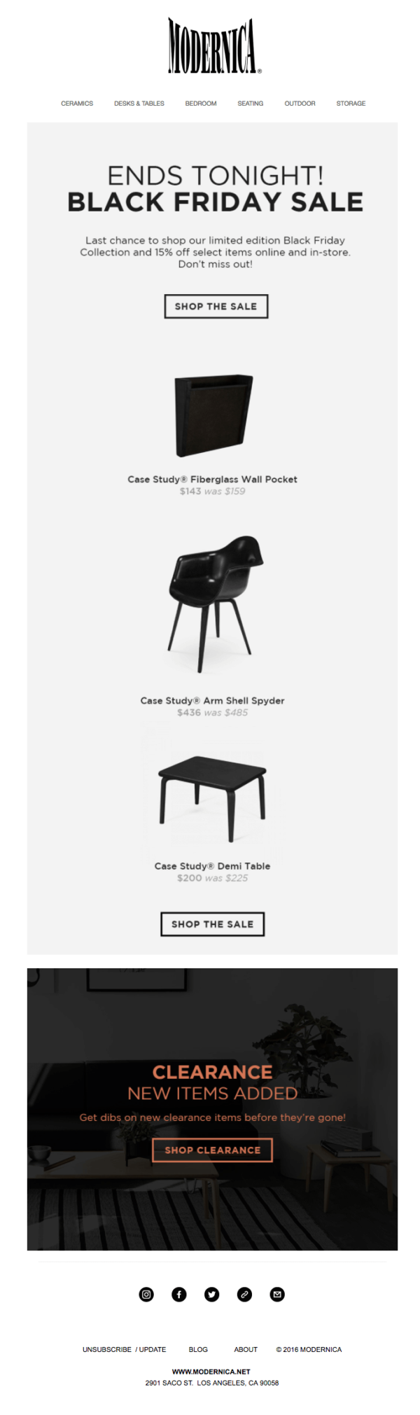 modernica black friday email