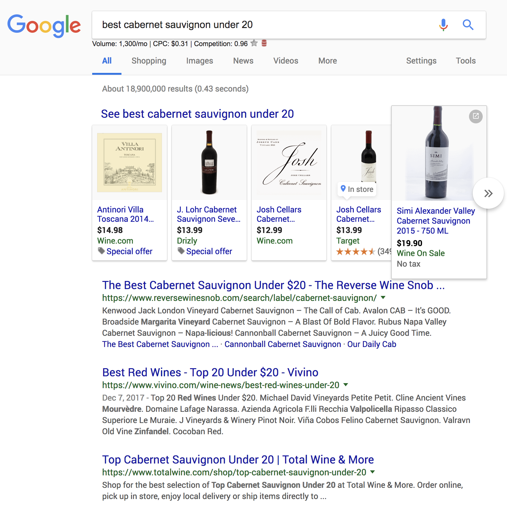 long tail search example - Cabernet