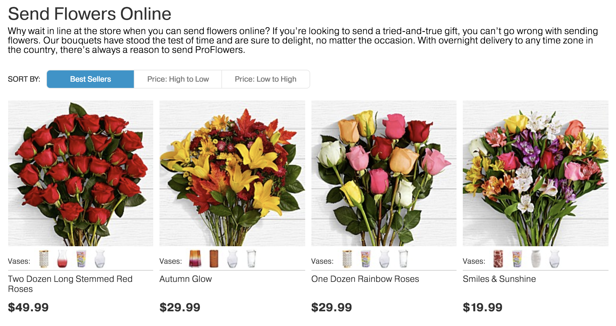 ProFlowers best sellers
