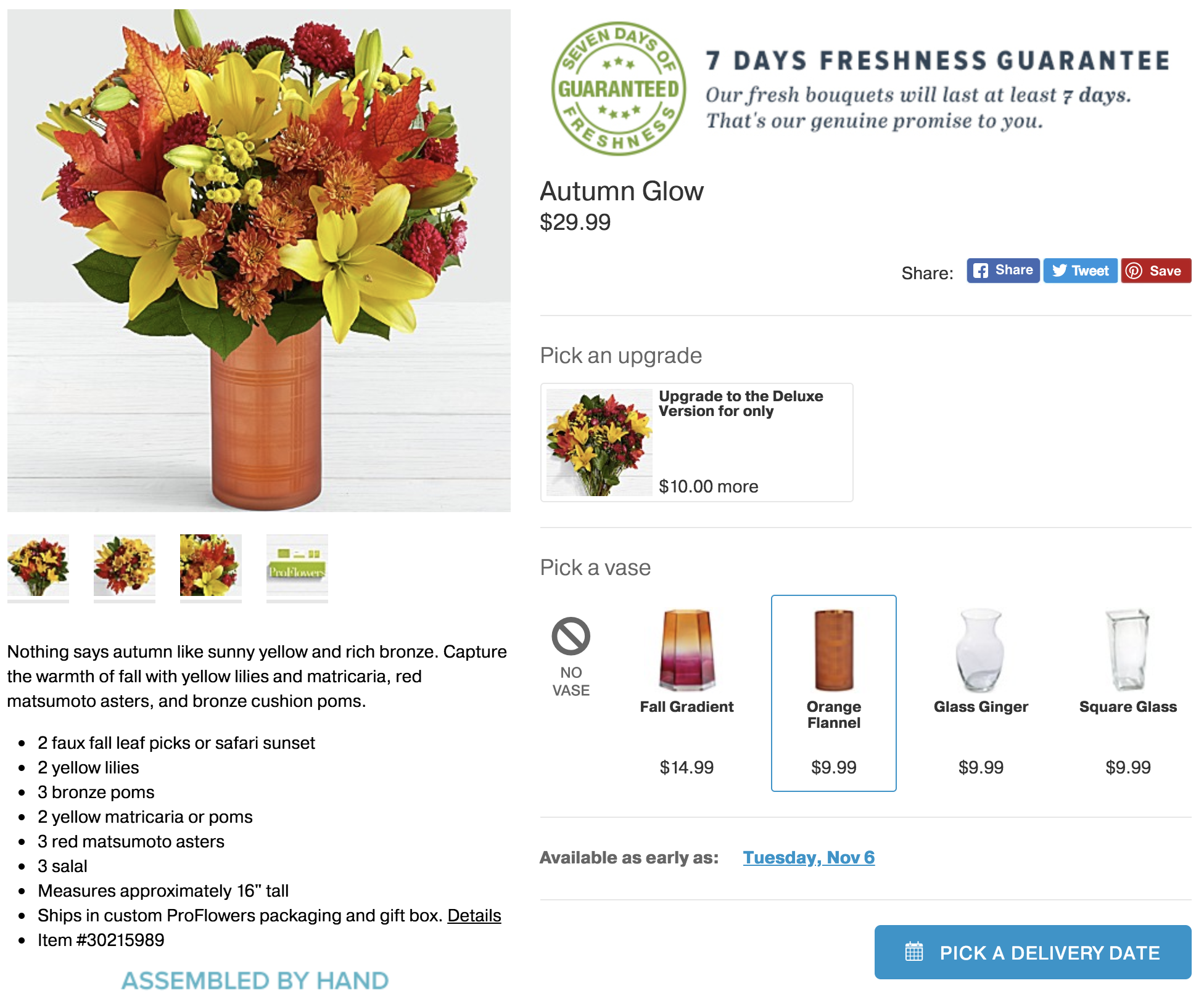 ProFlowers upsell and cross-sell