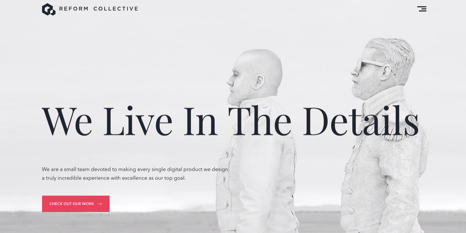 Landing page od Reform Collective