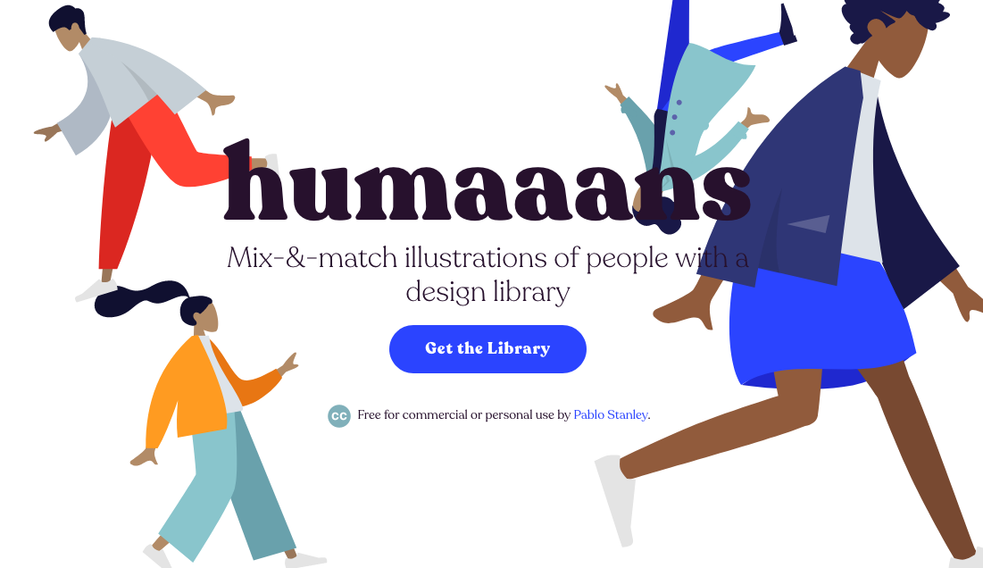 Humaaans well-designed, modern landing page