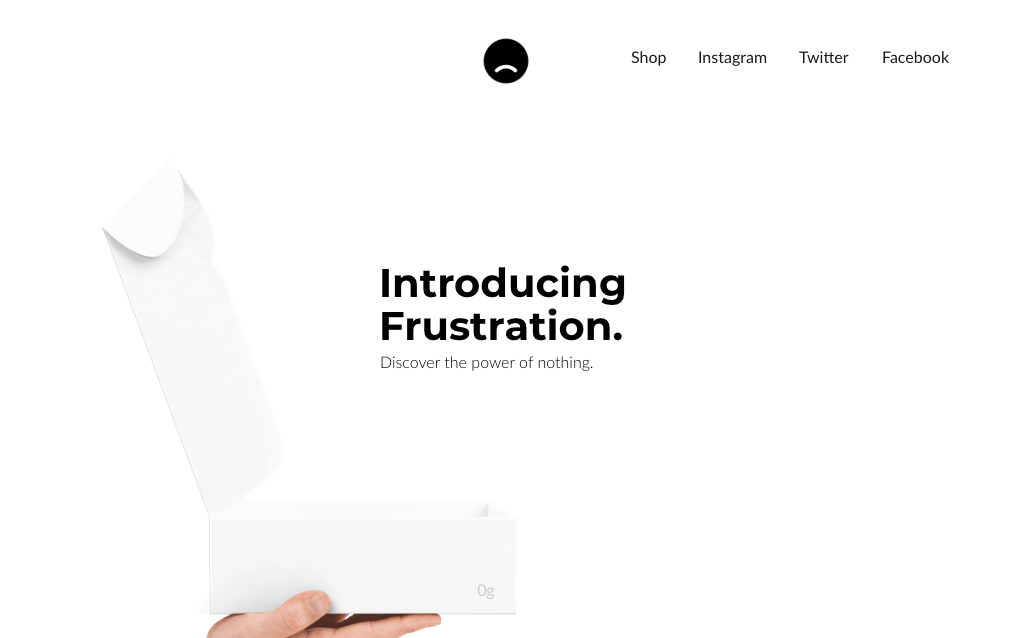 Another good landing page design example, including neo-minimalism: Frustration