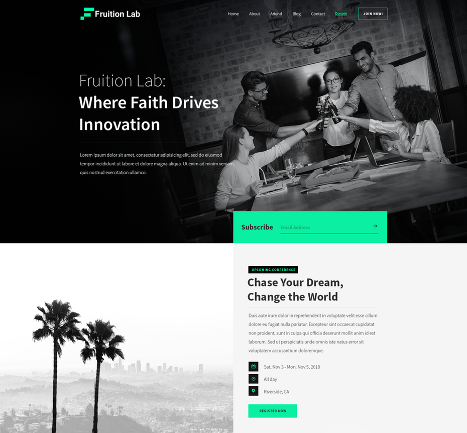 Fruition Lab using grayscale in their landing page design.