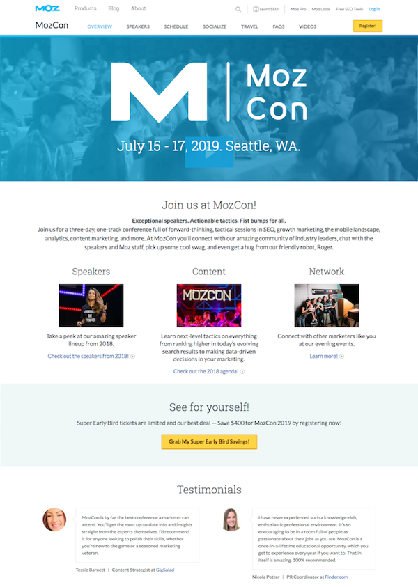 mozcon event landing page