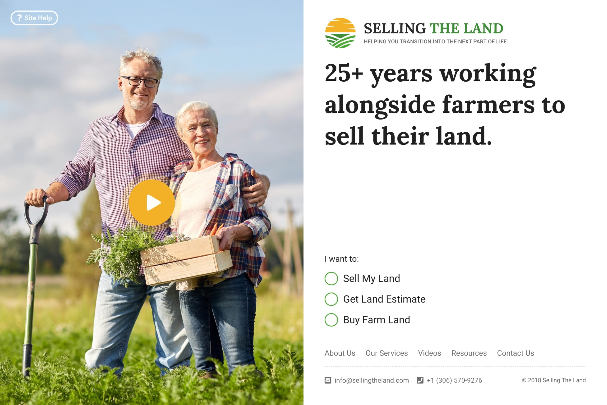 Selling the Land landing page design example