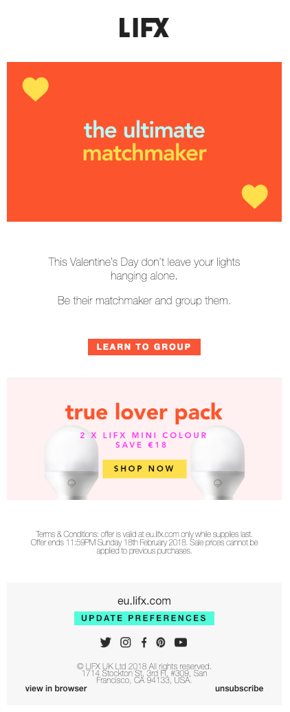 LIFX valentine's day email newsletter.
