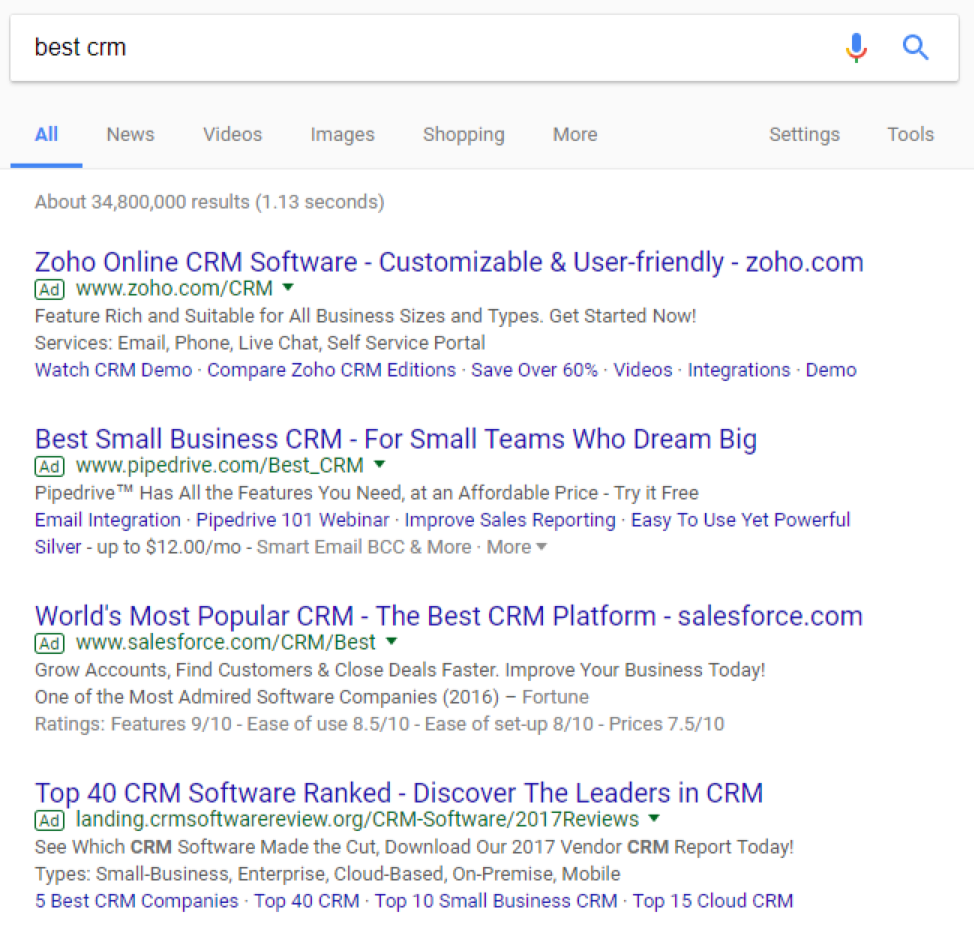 best crm google search