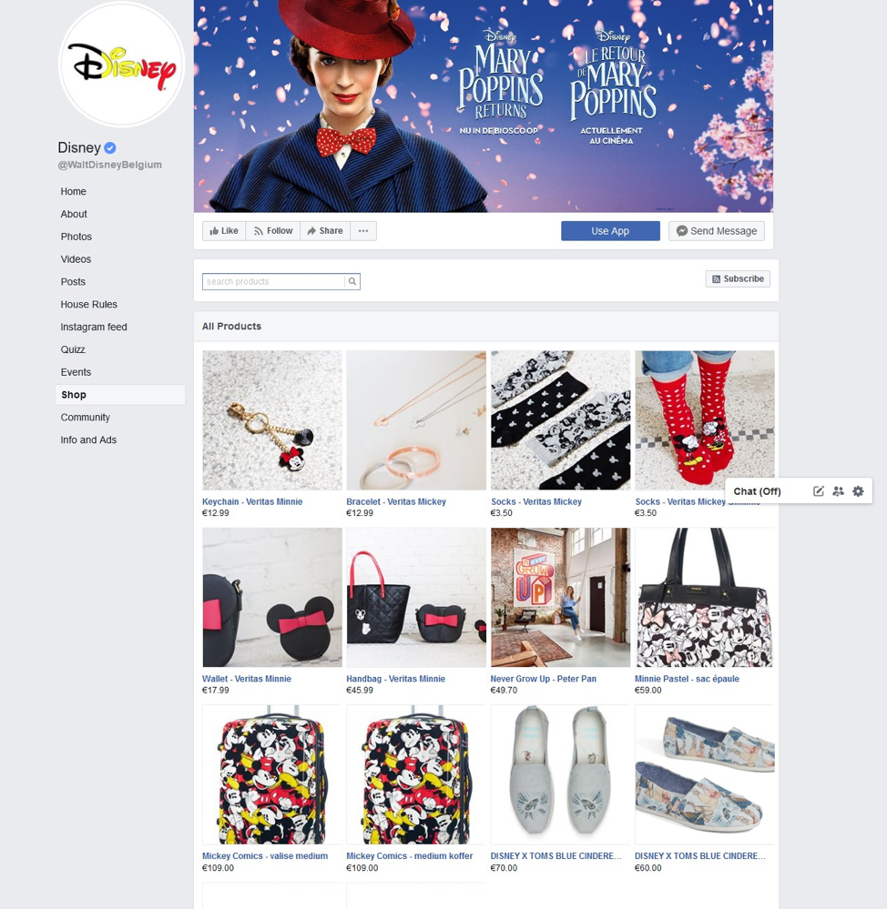 disney facebook landing page