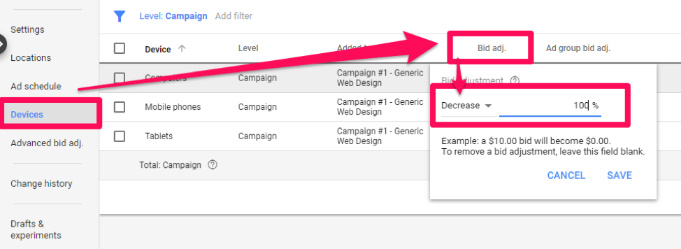 google ads campaign settings – adjusting bids for different devices