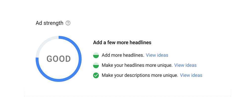google's ad strength tool
