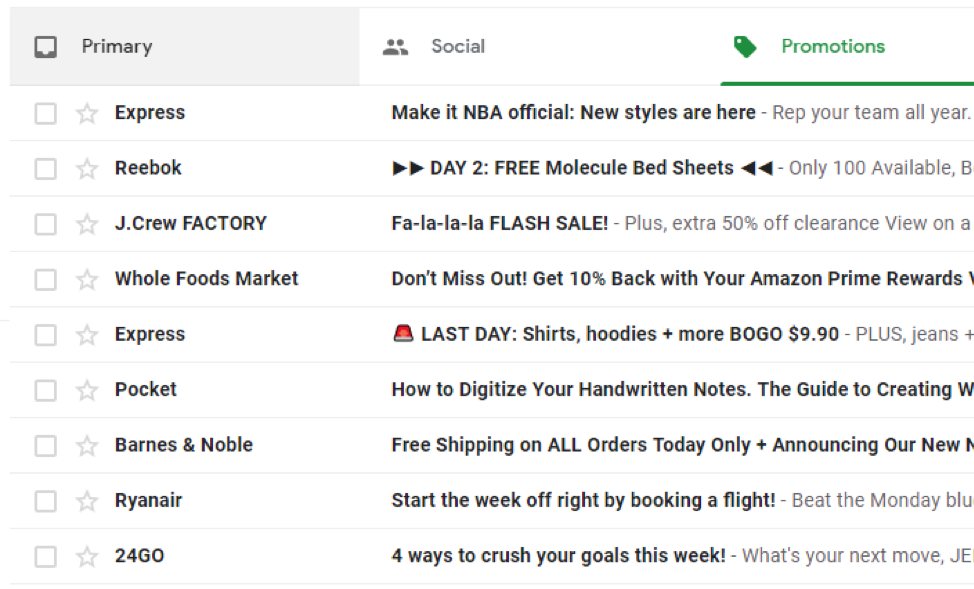 inbox sreenshot