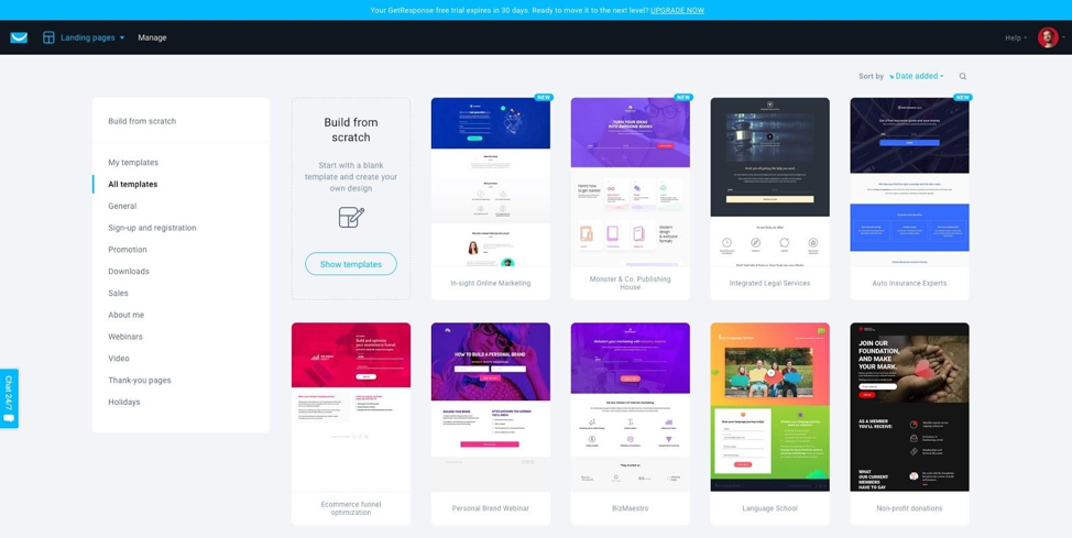 Landing page templates from GetResponse you can use to make an effective Facebook landing page