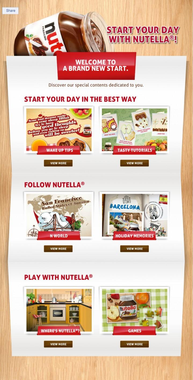 nutella landing page CTA