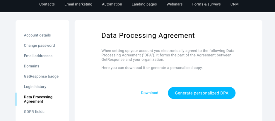 GetResponse Data Processing Agreement – getting ready for CCPA