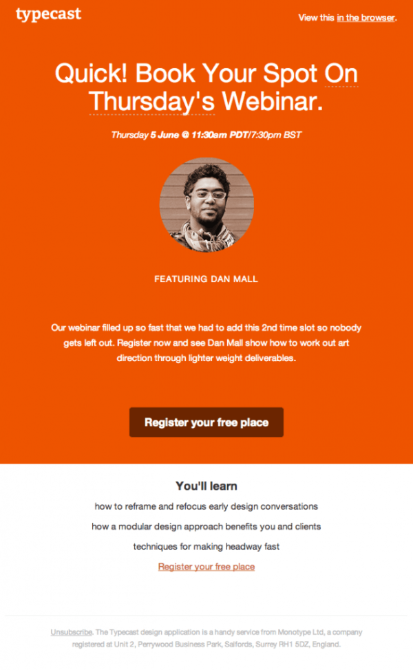 best webinar invitation newsletters – typecast.
