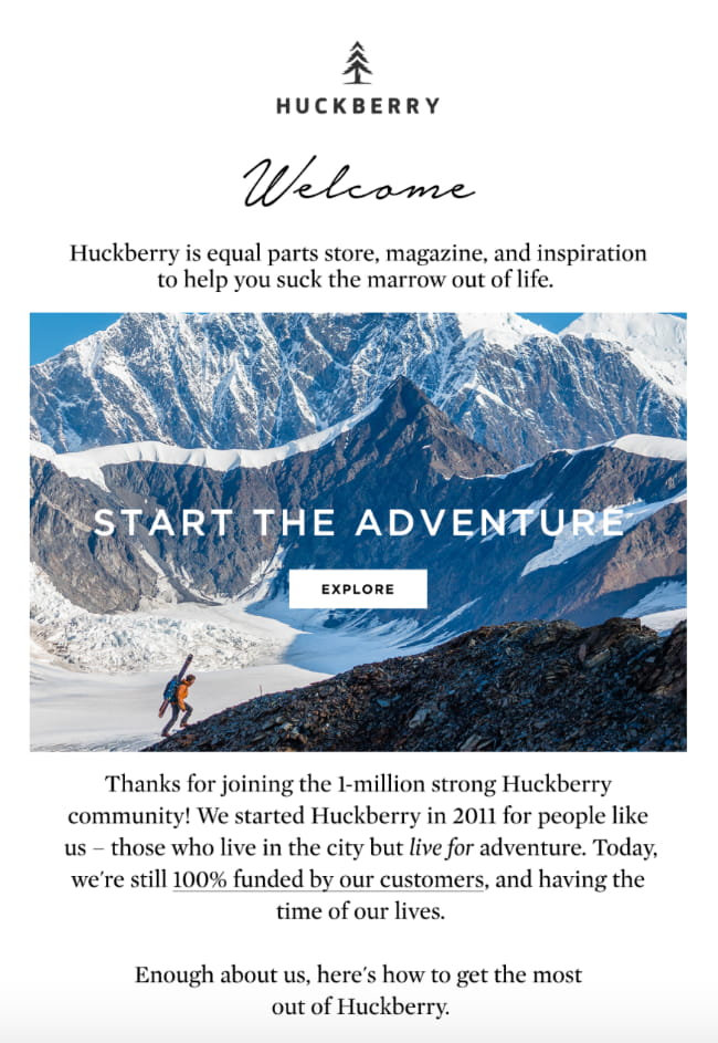 Welcome email from Huckberry.