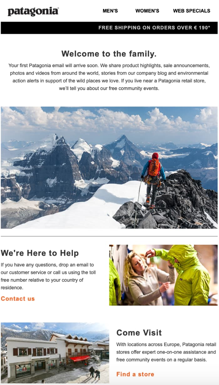 Patagonia following the best practice email strategies – onboarding their new subscribers with a welcome email.