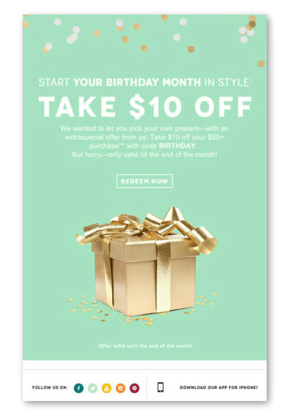 Birthday email drip campaign.