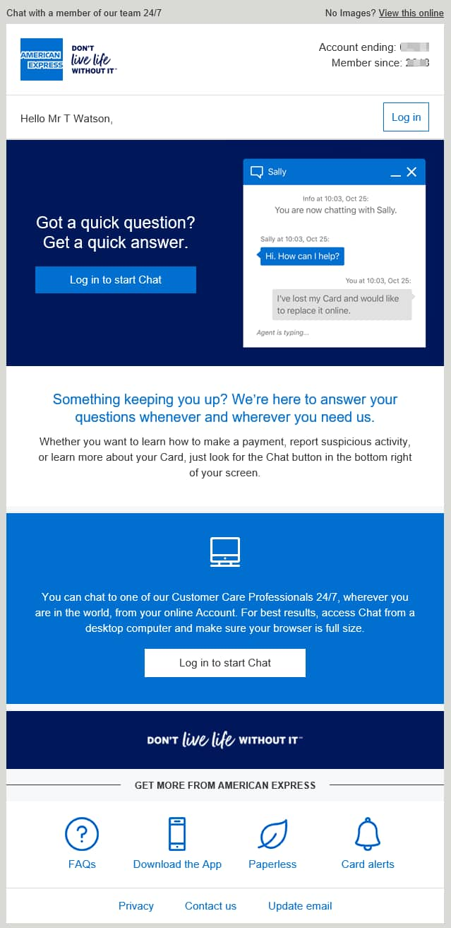 email campaign promoting chat amex.