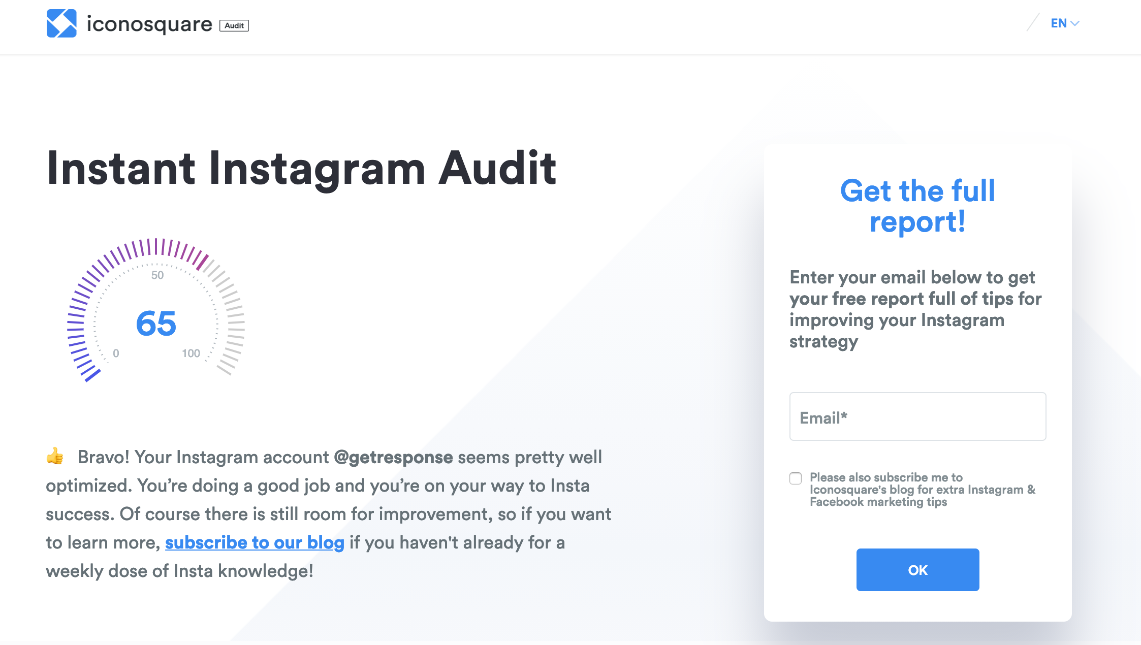 iconosquare instagram audit tool.
