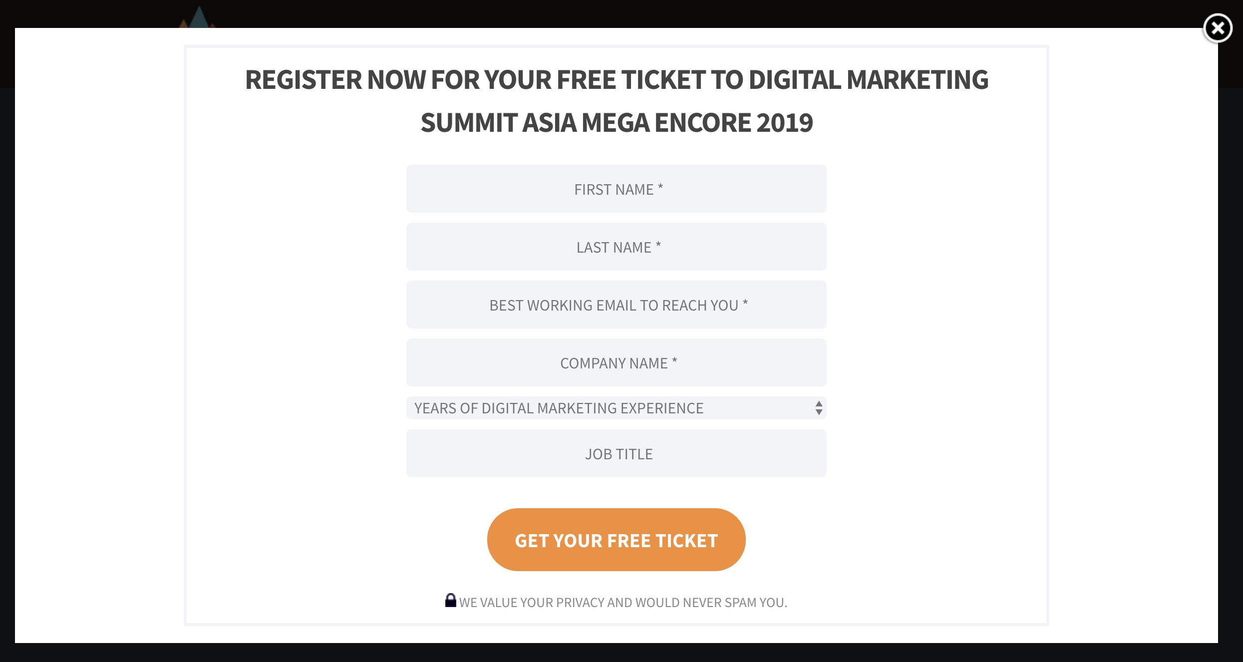 online event registration page.
