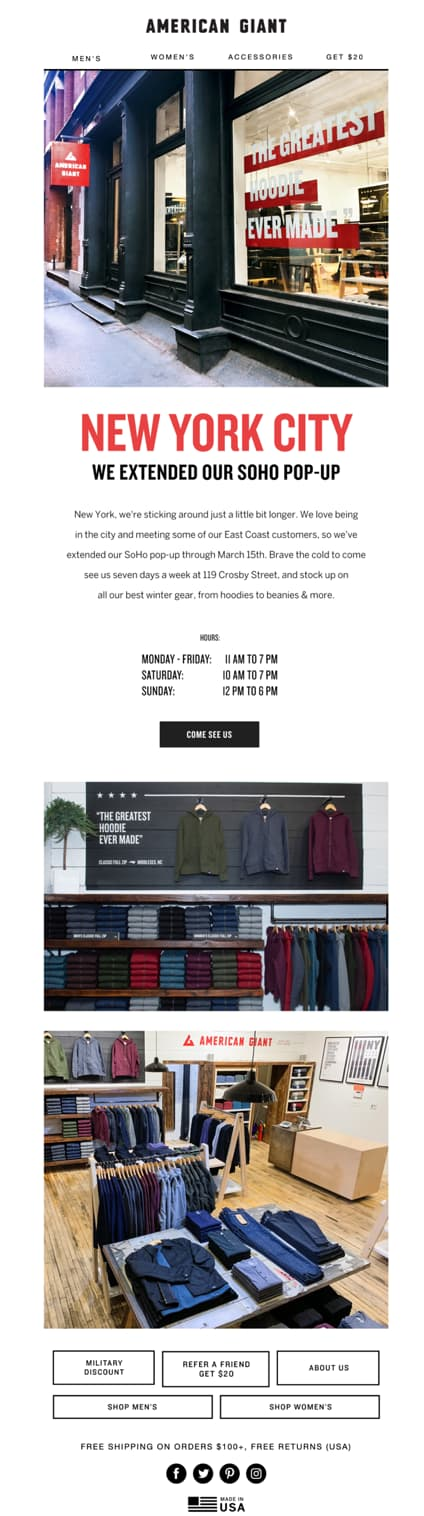 retail store invitation email american giant.