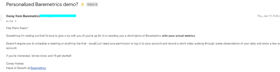 Baremetrics personalized demo email.