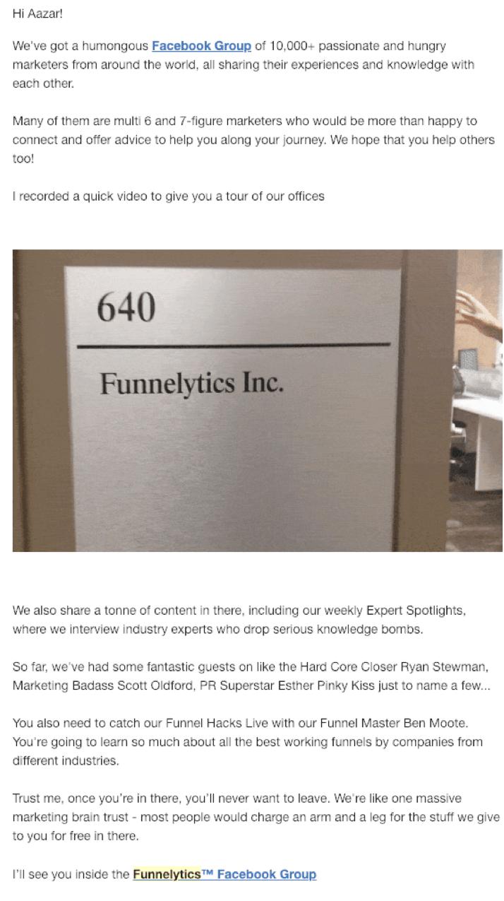 Funnelytics storytelling email.