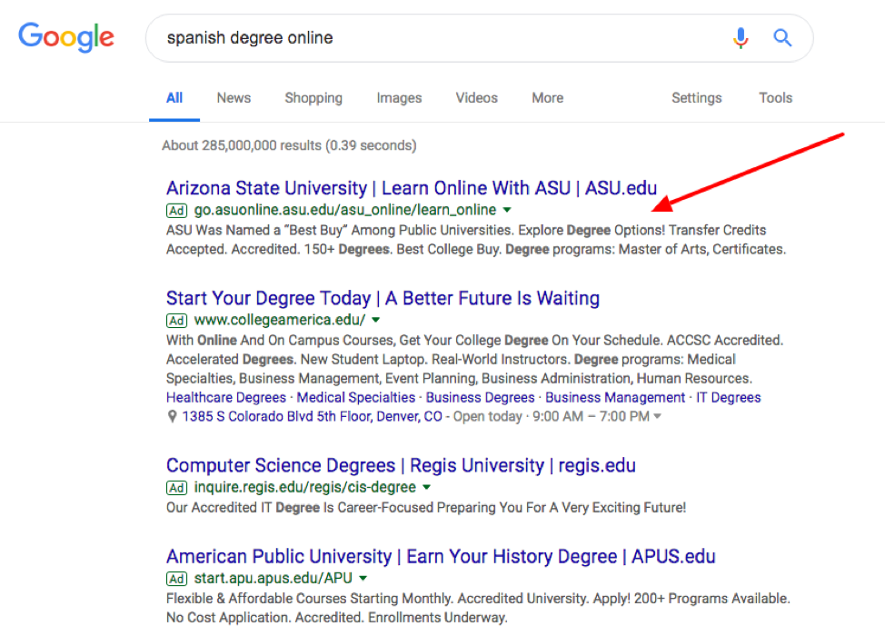 asu ppc ads in google serps position.
