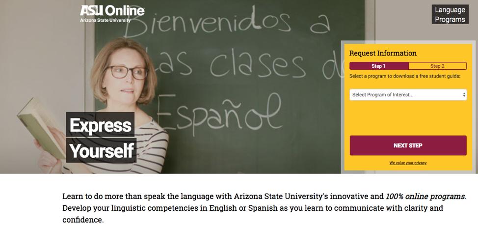 asu spanish course landing page.
