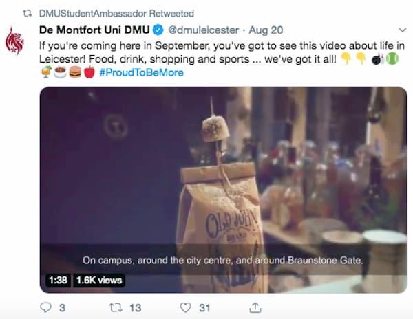 De Montfort Uni DMU tweet.