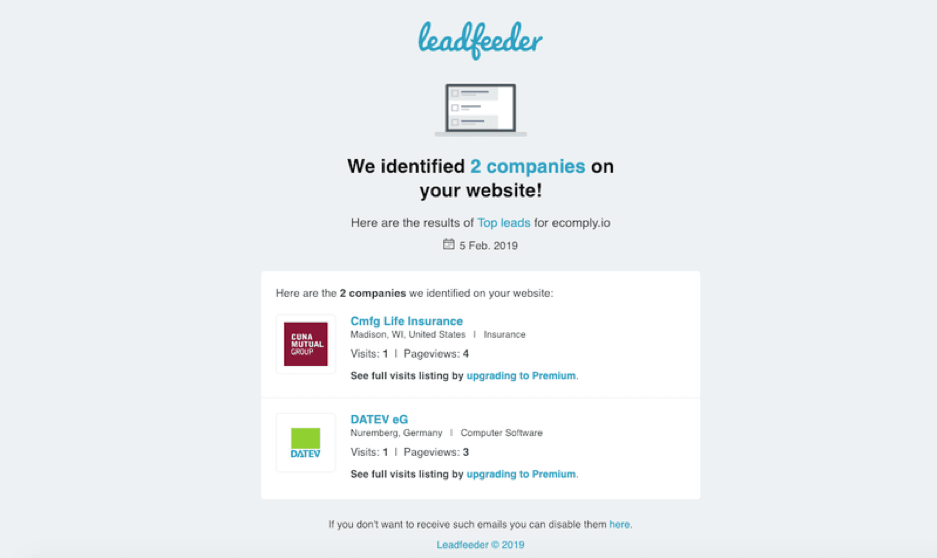 leadfeeder transactional email after the trial.